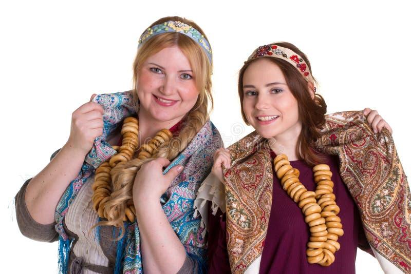 Русские женщины в национальных головных платках стоковое фото rf