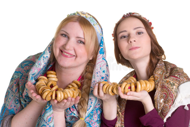 Русские женщины в национальных головных платках стоковая фотография rf