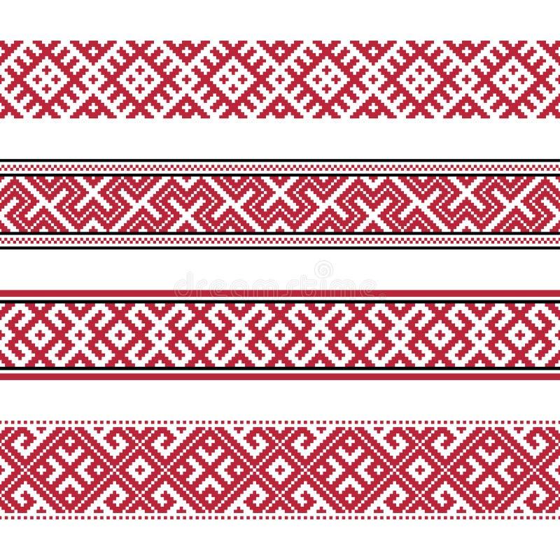 Русские старые вышивка и картины иллюстрация вектора