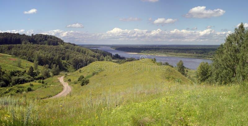 Русский ландшафт Взгляд реки Oka стоковые изображения