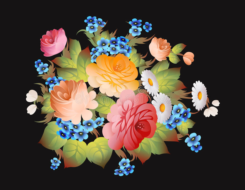 Русский вектор стиля zhostovo цветочного узора иллюстрация штока