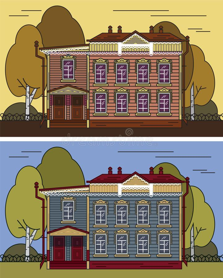 Русский дом в цвете иллюстрация вектора