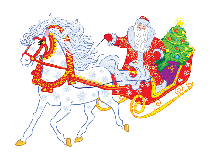 Русский дед Frost в санях иллюстрация штока
