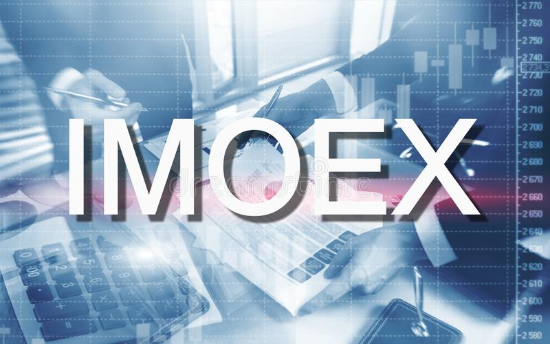 Русский рыночный индекс фондовой биржи IMOEX Финансовая торгуя концепция дела Micex стоковая фотография