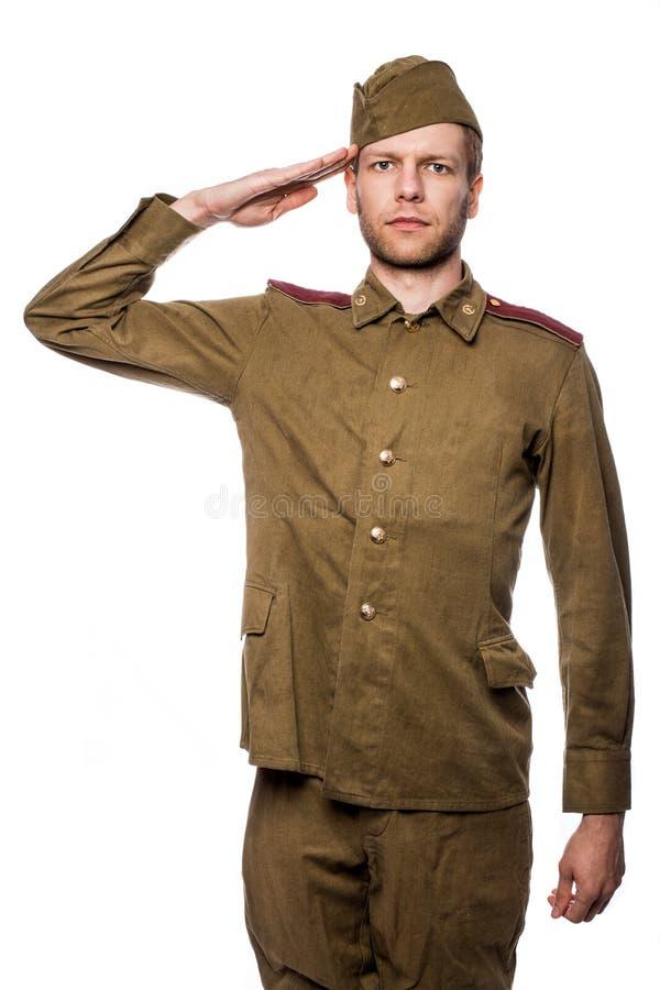 Русский салютовать солдата стоковое изображение rf