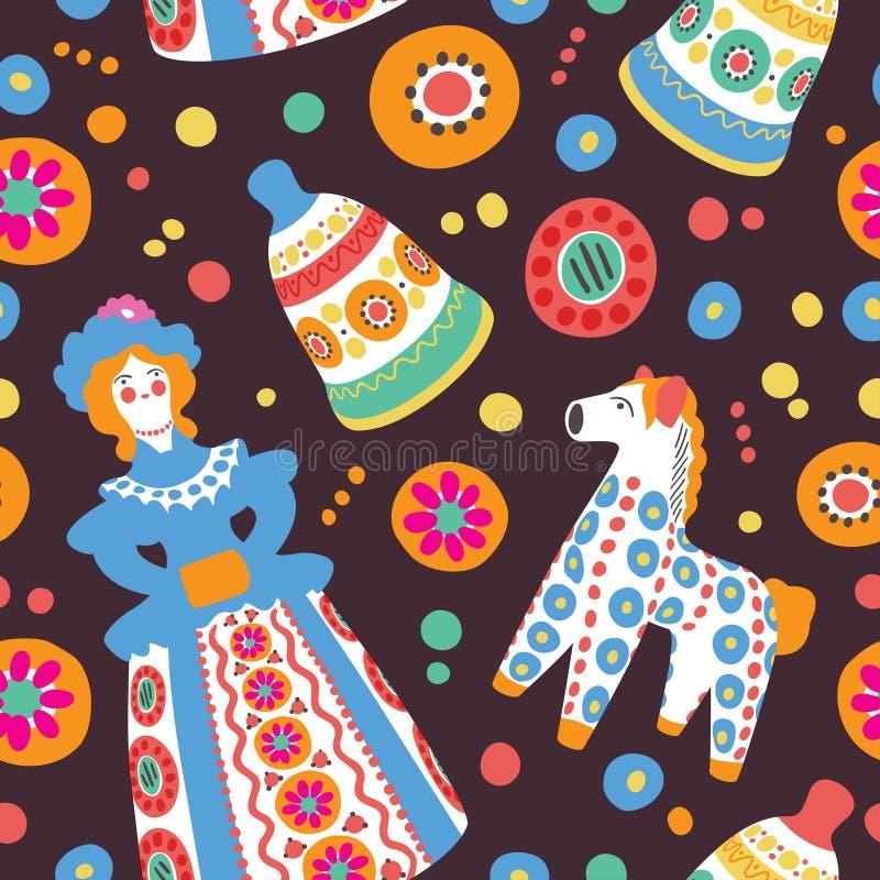 Русский сувенир забавляется безшовная картина иллюстрация штока