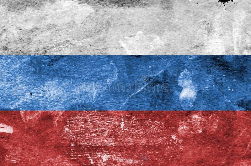 Русский флаг на предпосылке запятнанной краской стоковое фото rf