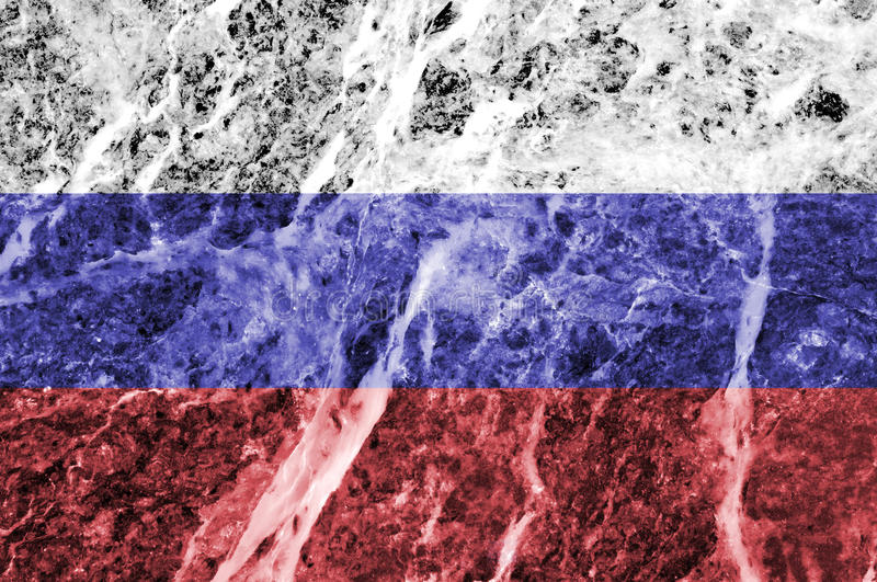 Русский флаг на мраморной текстуре стоковая фотография rf