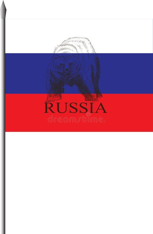 Русский флаг с медведем стоковые изображения rf