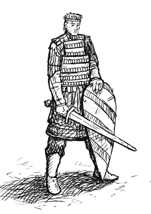 Русский эскиз ратника иллюстрация вектора