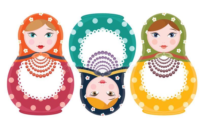 Русскими комплект изолированный куклами 3 элементов - плоская иллюстрация вложенности вектора стиля бесплатная иллюстрация