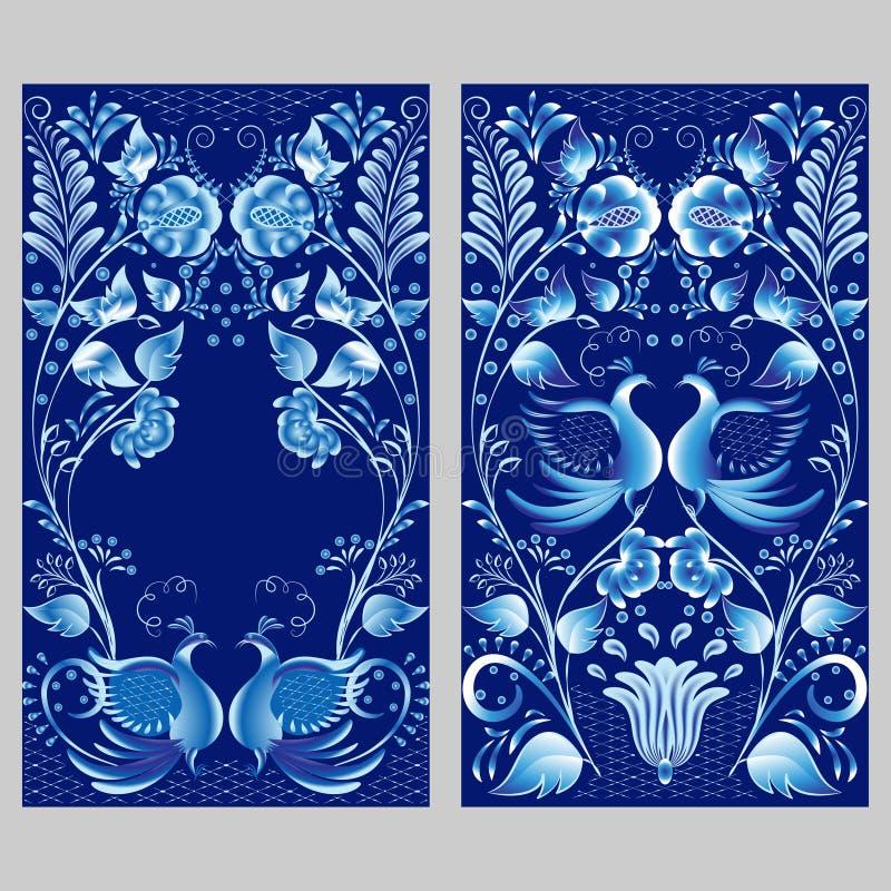 2 русских национальных орнамента с птицами иллюстрация вектора