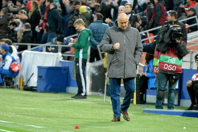 Русское национальное celebr Stanislav Cherchesov тренера футбольной команды стоковая фотография
