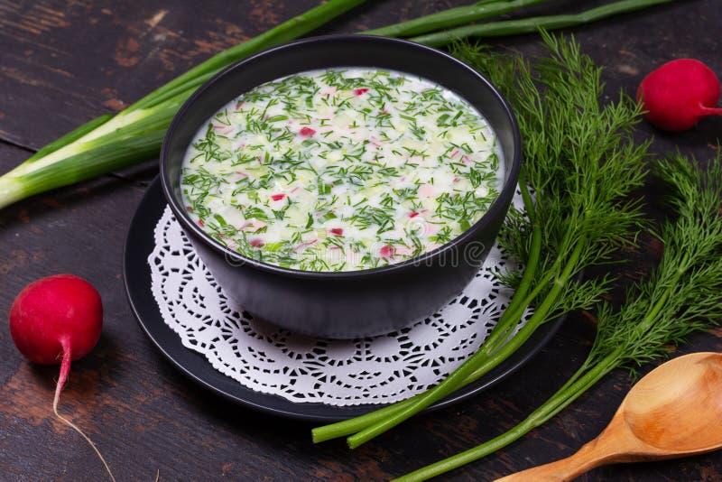Русское okroshka супа холода лета от зеленых цветов, овощей, кваса и кефира стоковое изображение rf