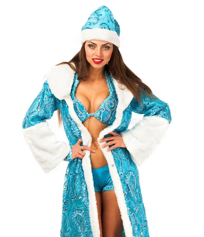 Русское snegurochka Молодая женщина в костюме горничной снега стоковая фотография