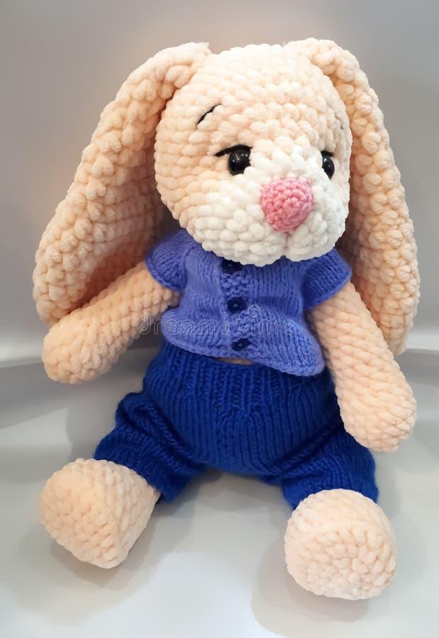 Русые зайцы, связанная ручная работа, заяц в голубом костюме стоковые изображения