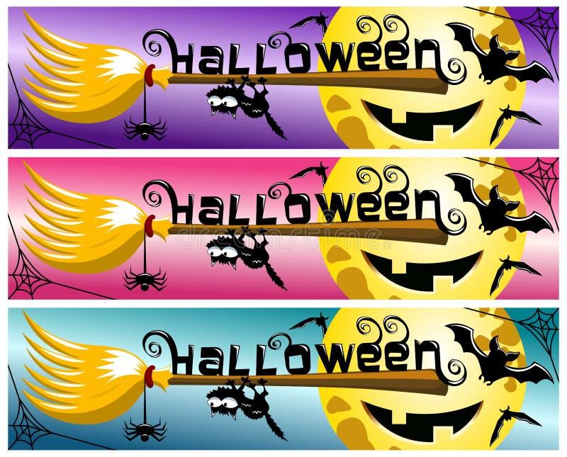 Ручка веника собрания знамени хеллоуина иллюстрация штока