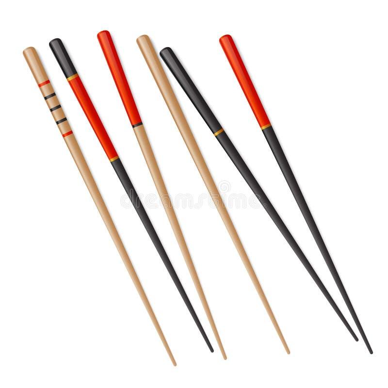 Ручка еды отбивной котлеты вектора палочки китайскими изолированная сушами японская Ручка Японии деревянная бамбуковая иллюстрация вектора