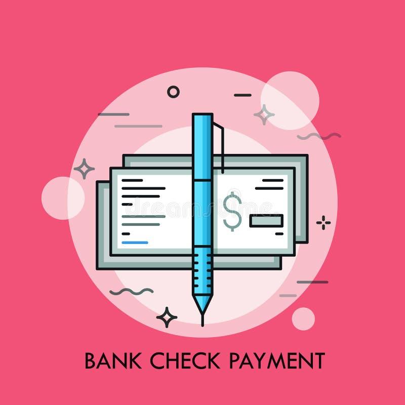 Ручка и кассир s проверяют с знаком доллара Традиционный метод оплаты, поручительство банка, концепция сертификата денег иллюстрация штока