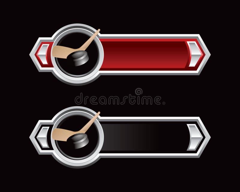 ручка красного цвета шайбы хоккея стрелок черная бесплатная иллюстрация