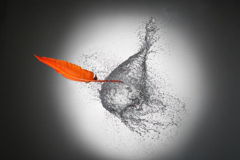 Ручка пера прокалывает гигантское падение воды цель принципиальной схемы разбивочного круга выбранная людьми стоковые фото