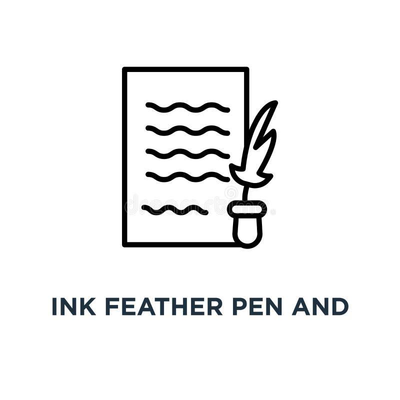 Ручка пера чернил и значок бумаги переченя Линейная простая беда элемента иллюстрация штока