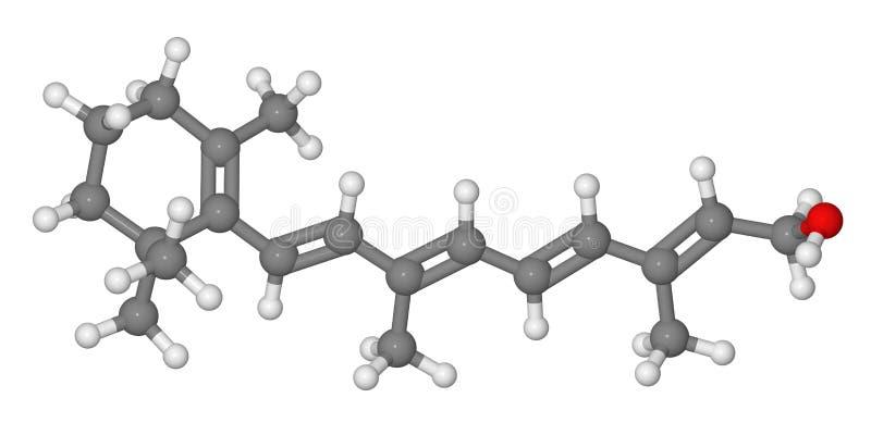 ручка ретинола молекулы шарика модельная иллюстрация вектора