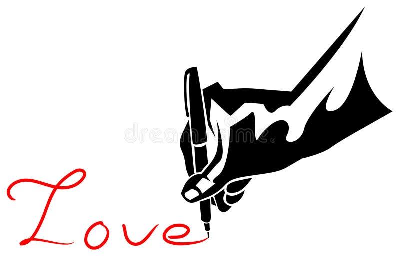 Ручка с влюбленностью иллюстрация вектора