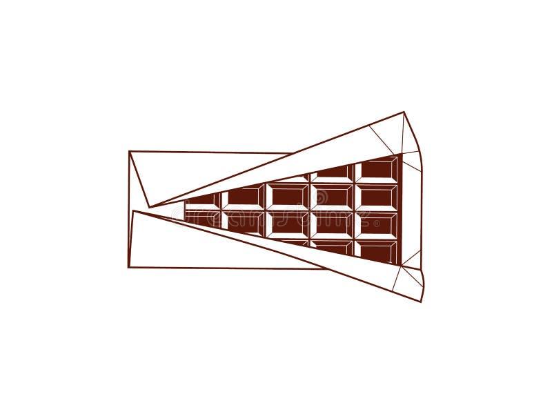 Ручка темного шоколада Весь, bited, раскрытые части, иллюстрация вектора