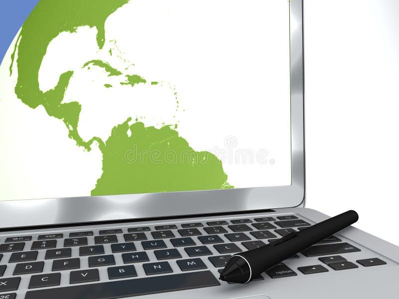 Ручка цифров и компьютер, картоведение, рисуя карты, перемещение бесплатная иллюстрация