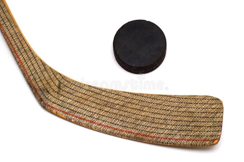 ручка шайбы хоккея стоковое фото