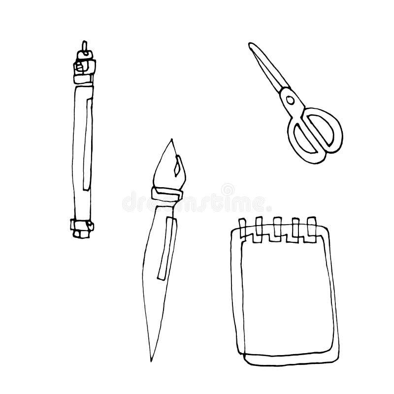 Ручка, щетка, тетрадь и ножницы нарисованы с линией контура E воспитательные поставки иллюстрация вектора