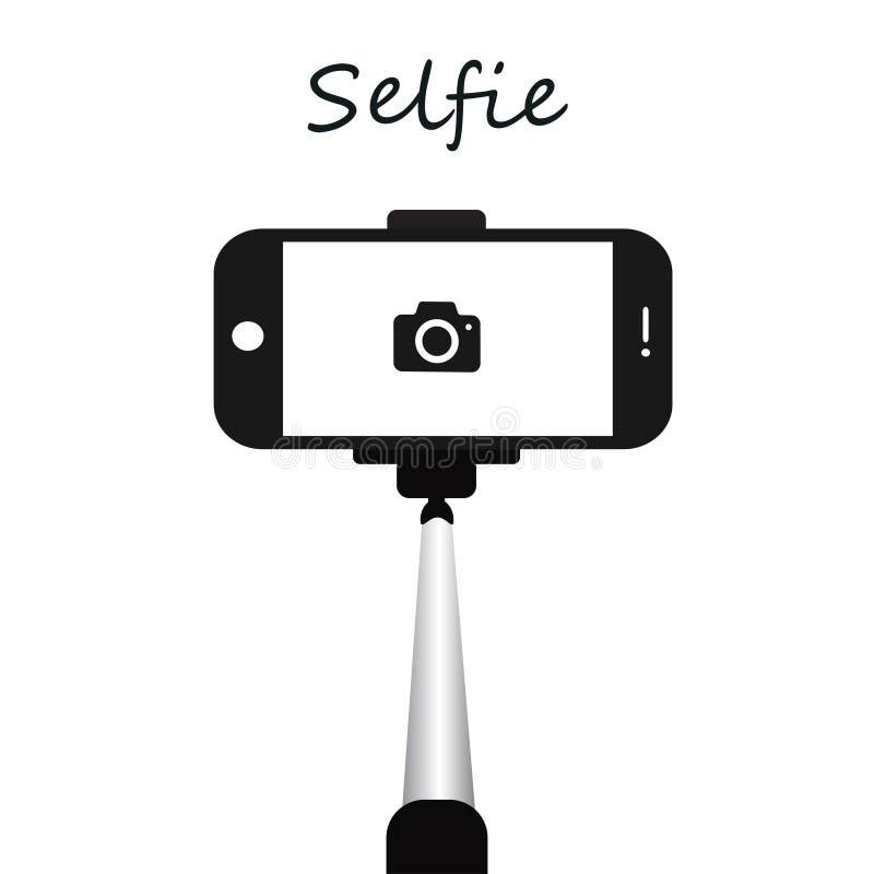 Ручка для selfie Иллюстрация шаржа съемок Monopod Selfie Иллюстрация концепции ручки Selfie иллюстрация вектора