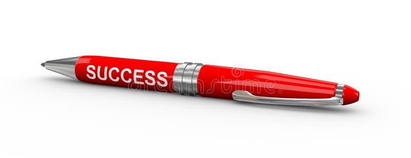 ручка 3d с успехом слова иллюстрация штока