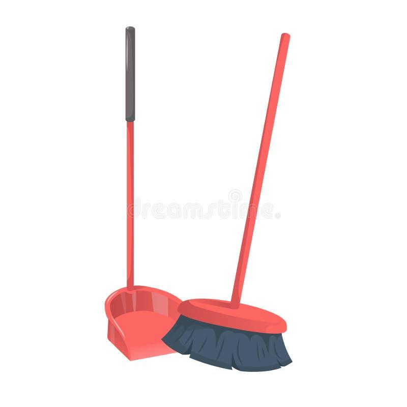 Ручка dustpanwith ультрамодного стиля шаржа красная и почищенный щеткой веник Иллюстрация значка вектора уборки и гигиены иллюстрация вектора