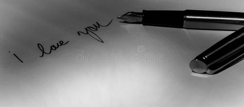 Ручка Watermans с я тебя люблю записью стоковая фотография rf
