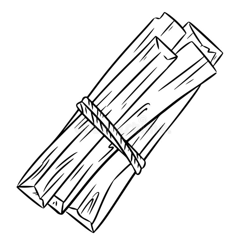 Ручки ароматности дерева Palo Santo святые деревянные от Латинской Америк иллюстрация вектора