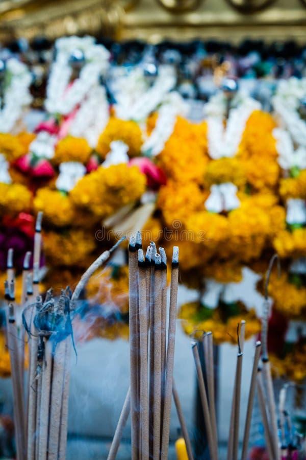 Ручки ладана в буддийском виске в Бангкоке, поклонении стоковые изображения