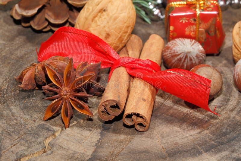 Ручки циннамона, анисовка звезды, гайки, украшение рождества стоковые изображения rf