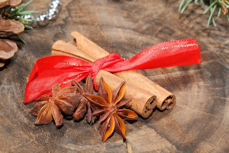 Ручки циннамона, анисовка звезды, гайки, украшение рождества стоковые фотографии rf