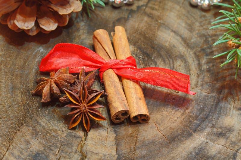 Ручки циннамона, анисовка звезды, гайки, украшение рождества стоковое фото