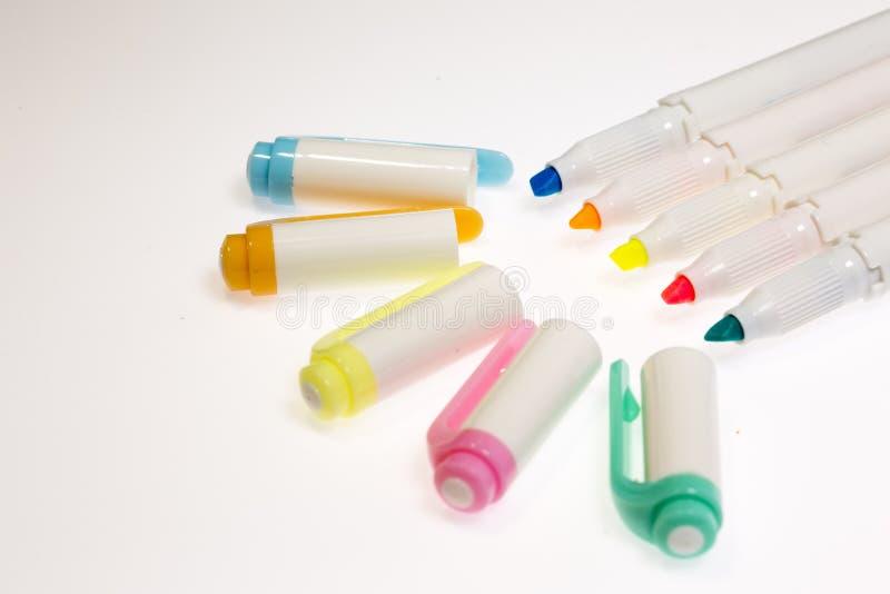Ручки Highlighter пастельных цветов стоковые фотографии rf
