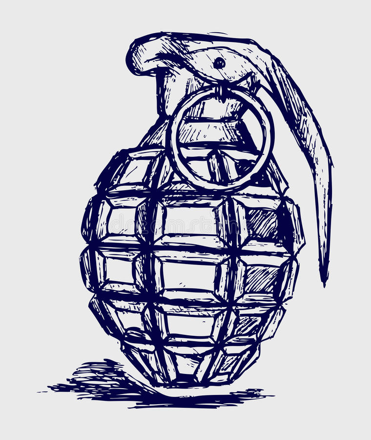 Ручная граната иллюстрация вектора
