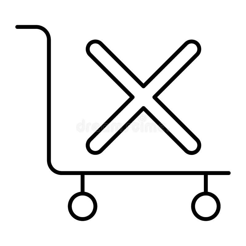 Ручная тележка без линии значка груза тонкой Пустая иллюстрация вектора вагонетки багажа изолированная на белизне Вагонетка гости иллюстрация вектора