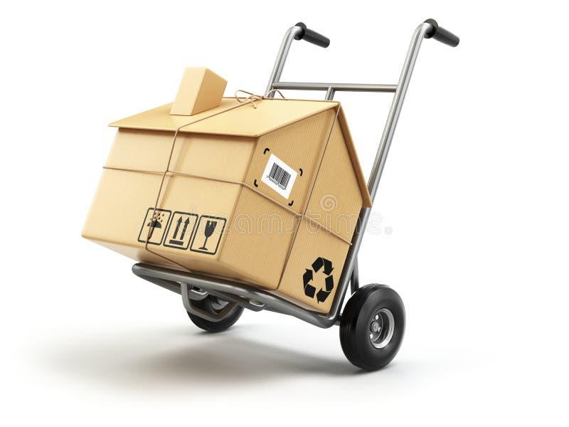 Ручная тележка с картонной коробкой как домой на белизне поставьте иллюстрация вектора