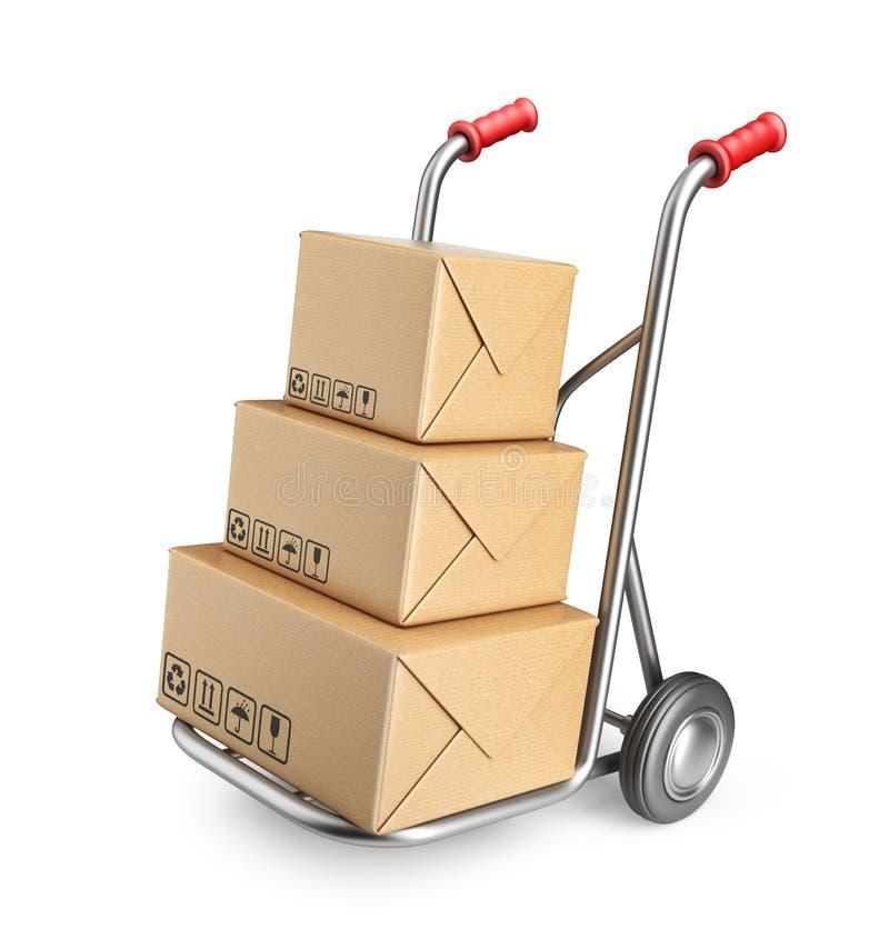 Ручная тележка с картонными коробками. изолированный значок 3D иллюстрация штока
