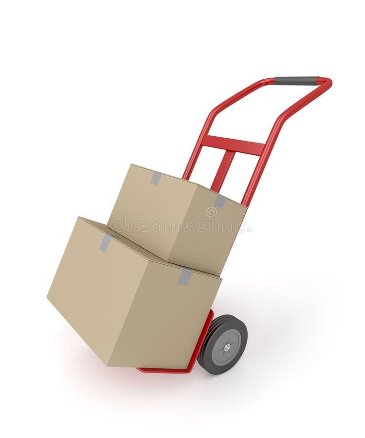 Ручная тележка с коробками иллюстрация штока