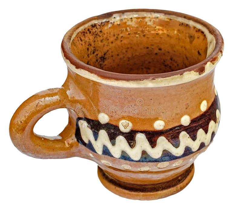 Ручной работы керамическая чашка с ручной работы орнаментом стоковая фотография rf
