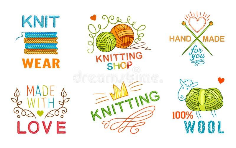 Ручной работы комплект логотипа Knit иллюстрация вектора
