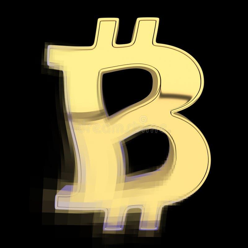 Рушиться на больших пикселах символа валюты - bitcoin Изолировано на черноте 3d представляют иллюстрация штока